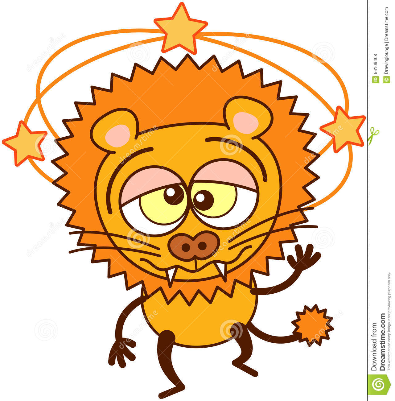 Cute Lion Walking Unsteadily And Feeling Dizzy Stock Vector.