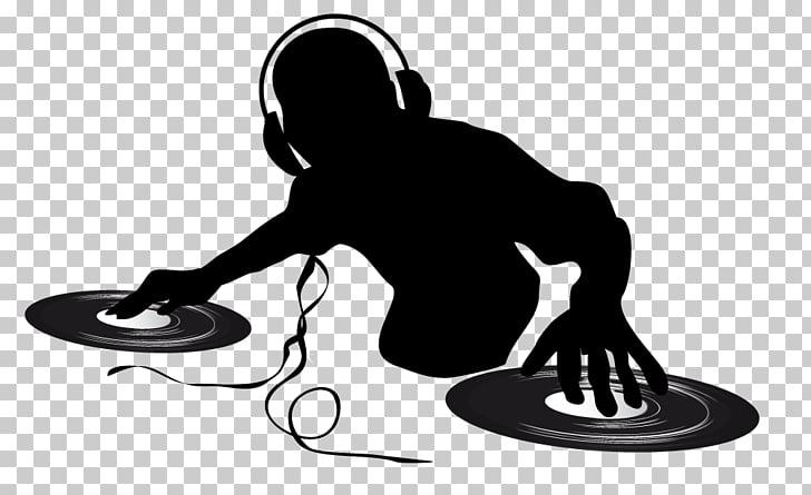 Disc jockey Music DJ mixer Podcast Nightclub, DJ silhouette.