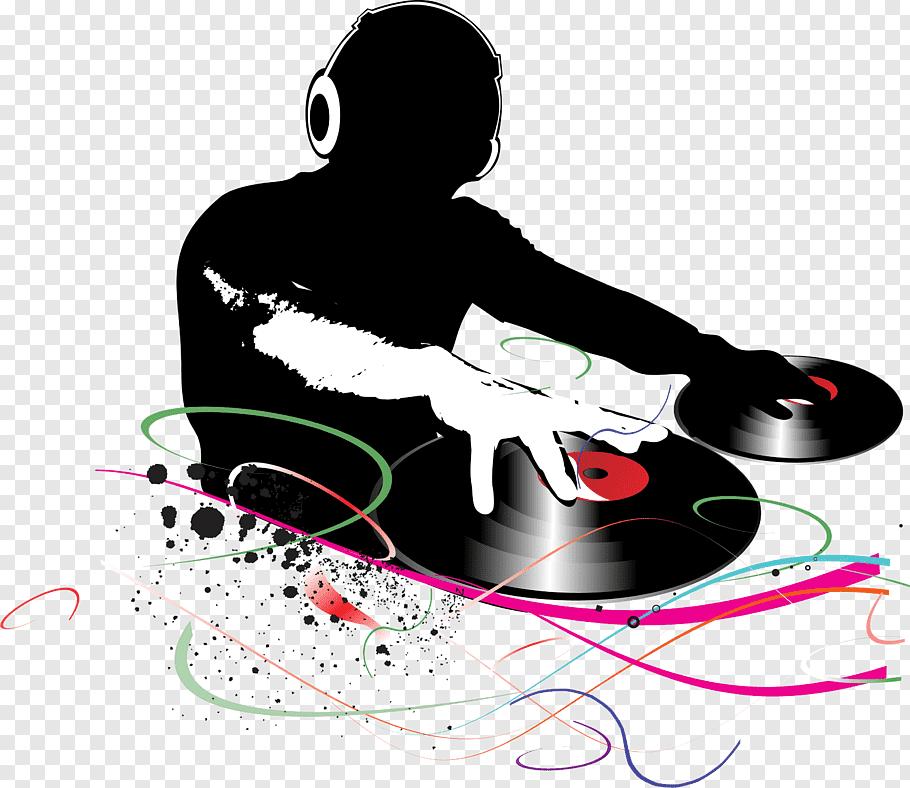 DJ spinning vinyl records graphic, Disc jockey Music.