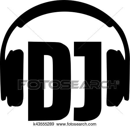 DJ word with headphones Clip Art.