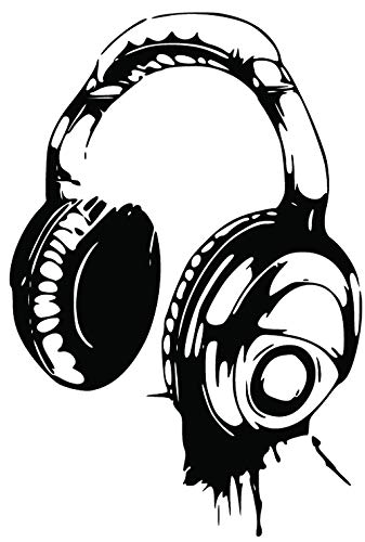 Kult Kanvas DJ Headphones Wall art Sticker Boys bedroom childrens BR54  (60cm x 89cm).
