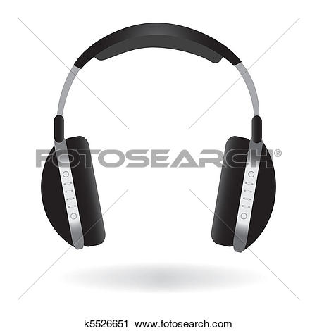Clip Art of Large DJ Headphones k5921868.