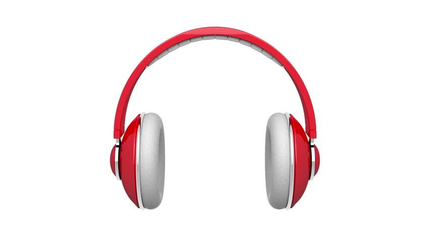 Red Dj Headphones Rotates On Stock Footage Video (100% Royalty.