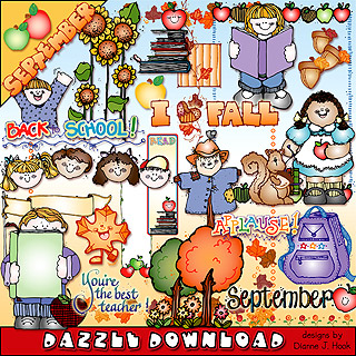 Fabulous fall clip art & back to school smiles by DJ Inkers.