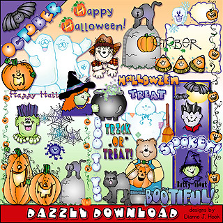 Spooky Halloween clip art for October by DJ Inkers.
