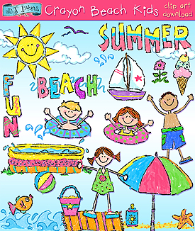 Beach Kids crayon clip art for summer by DJ Inkers.