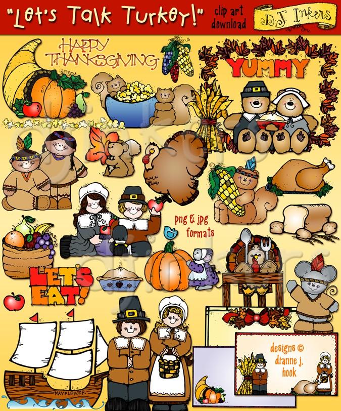 Let's Talk Turkey Thanksgiving clip art by DJ Inkers.