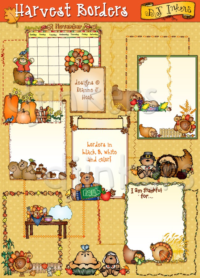 Clip art borders for Thanksgiving & harvest by DJ Inkers.