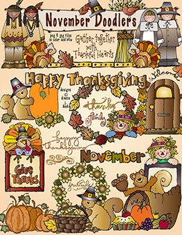 Cute clip art doodles for Thanksgiving created by DJ Inkers.