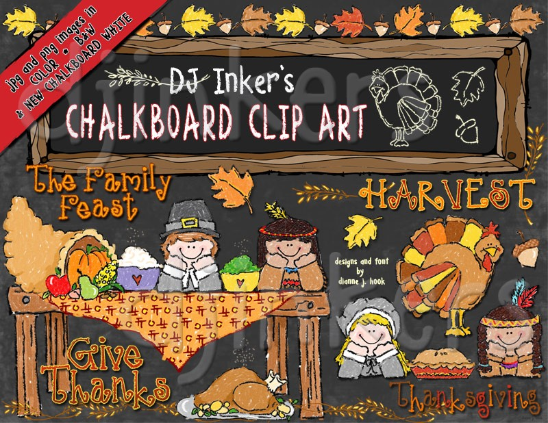 Thanksgiving Clipart, Fonts & Printables by DJ Inkers.