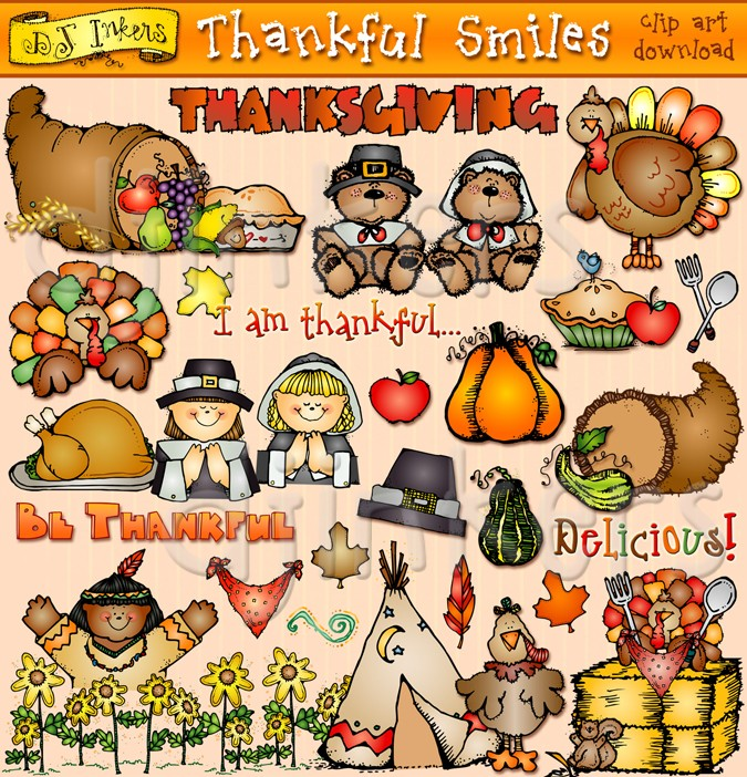 Thanksgiving & harvest clip art by DJ Inkers.