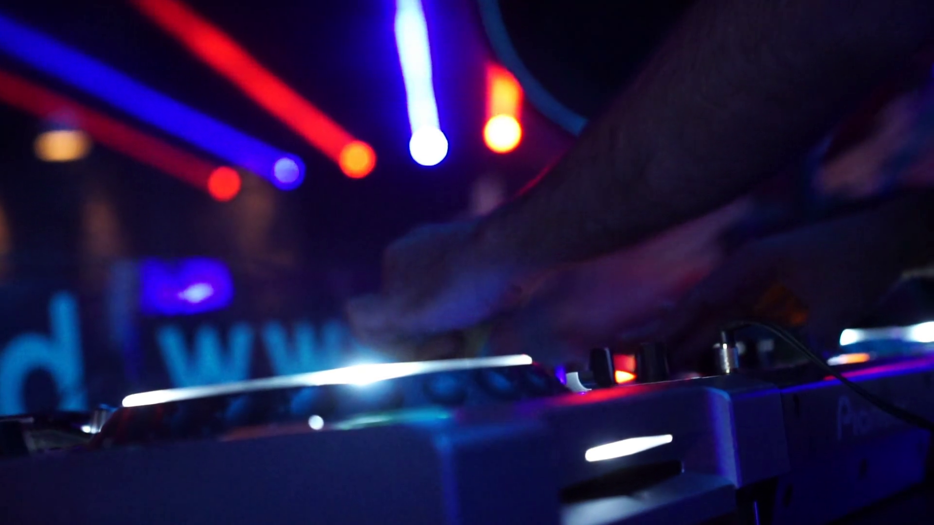 Dj Playing Show with Lights in Background Stock Video Footage.
