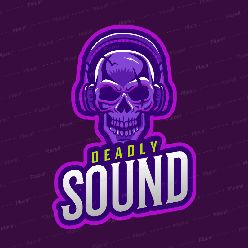 DJ Logo Template Featuring a Skull with Headphones Clipart 2656d.