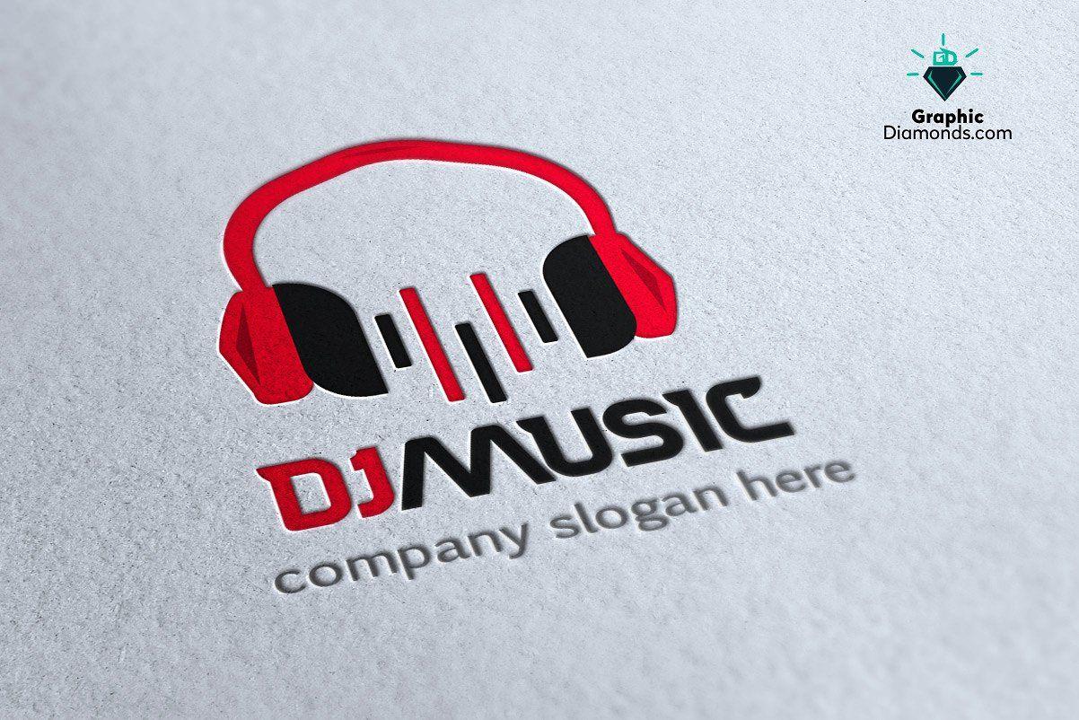 Dj Music Logo Template by GraphicDiamonds on @creativemarket.