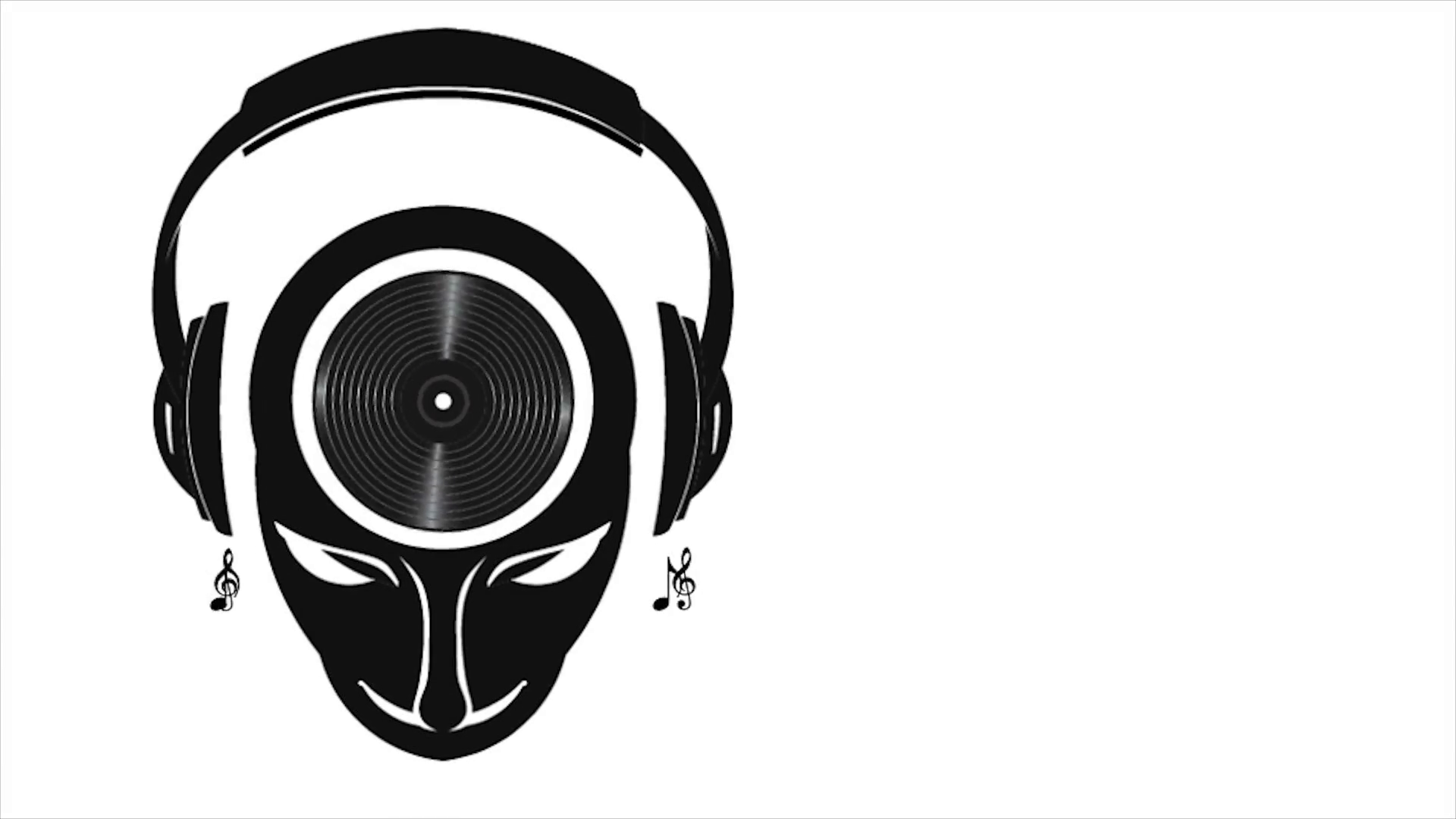 DJ Man with Head Vinyl, Headphones and Music Notes. Video Logo Animation  Motion Background.