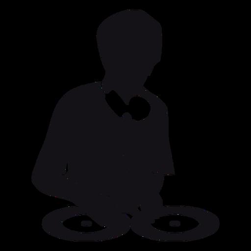 Dj music silhouette.