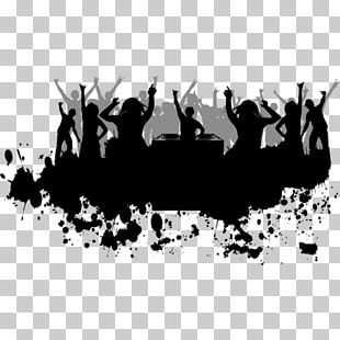 Party , Dj Event, silhouette of party people illustration.