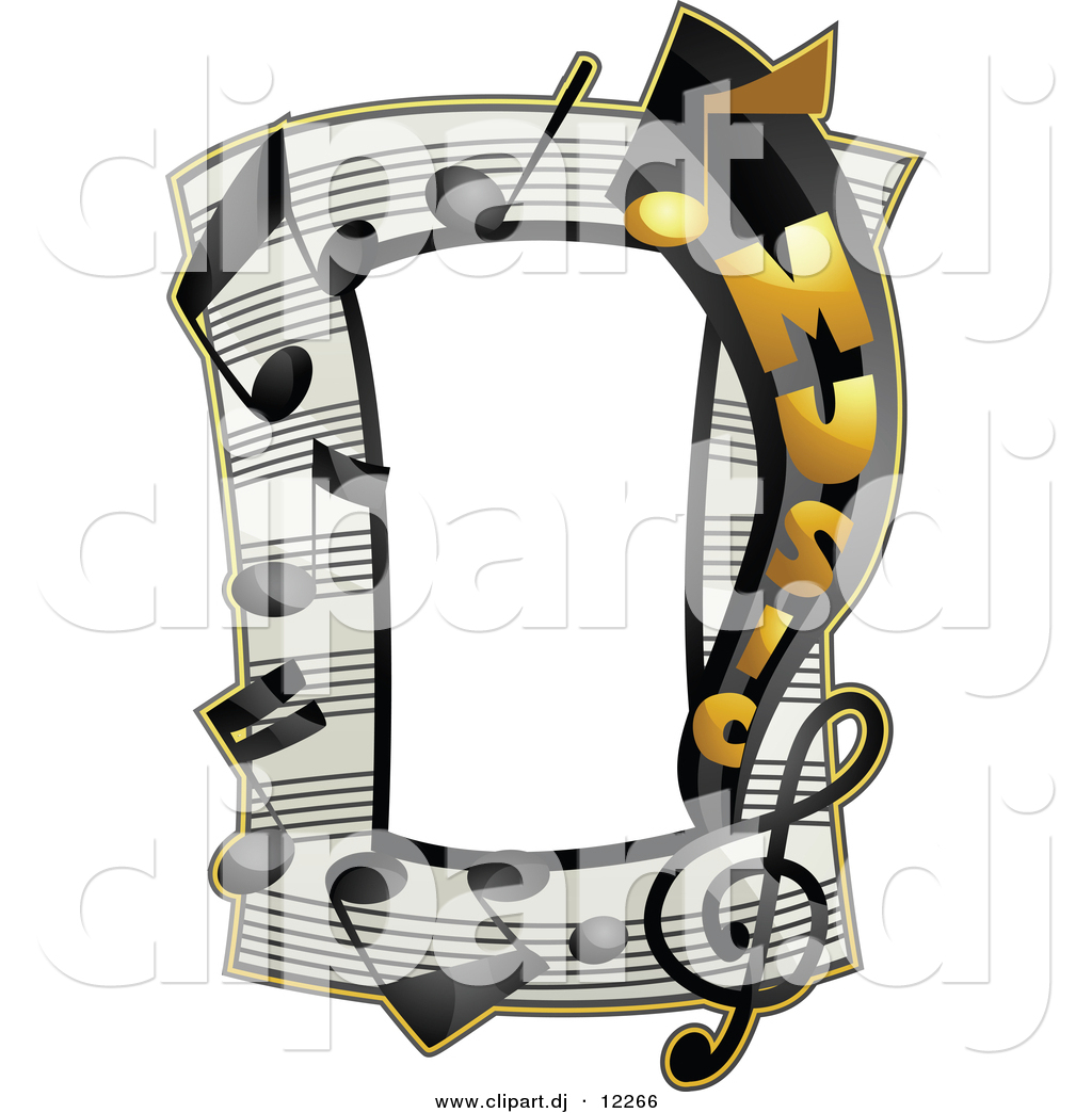 Vector Clipart of a Music Notes Frame Border Design by BNP.