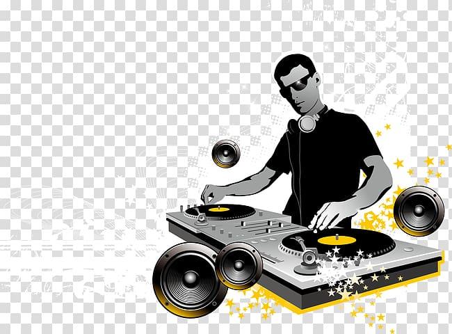 DJ playing audio mixer art, Disc jockey Mixing console DJ.