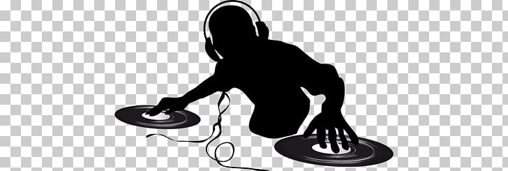 DJ Silhouette, man playing turntable PNG clipart.