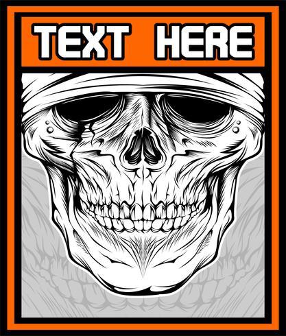 Vector illustration of skull dj. Shirt design on dark.