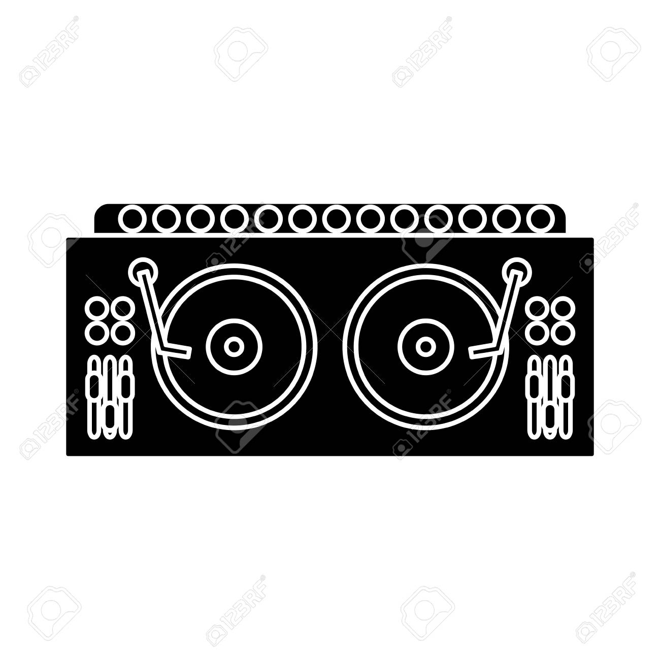 DJ turntable symbol icon. Vector illustration graphic design..
