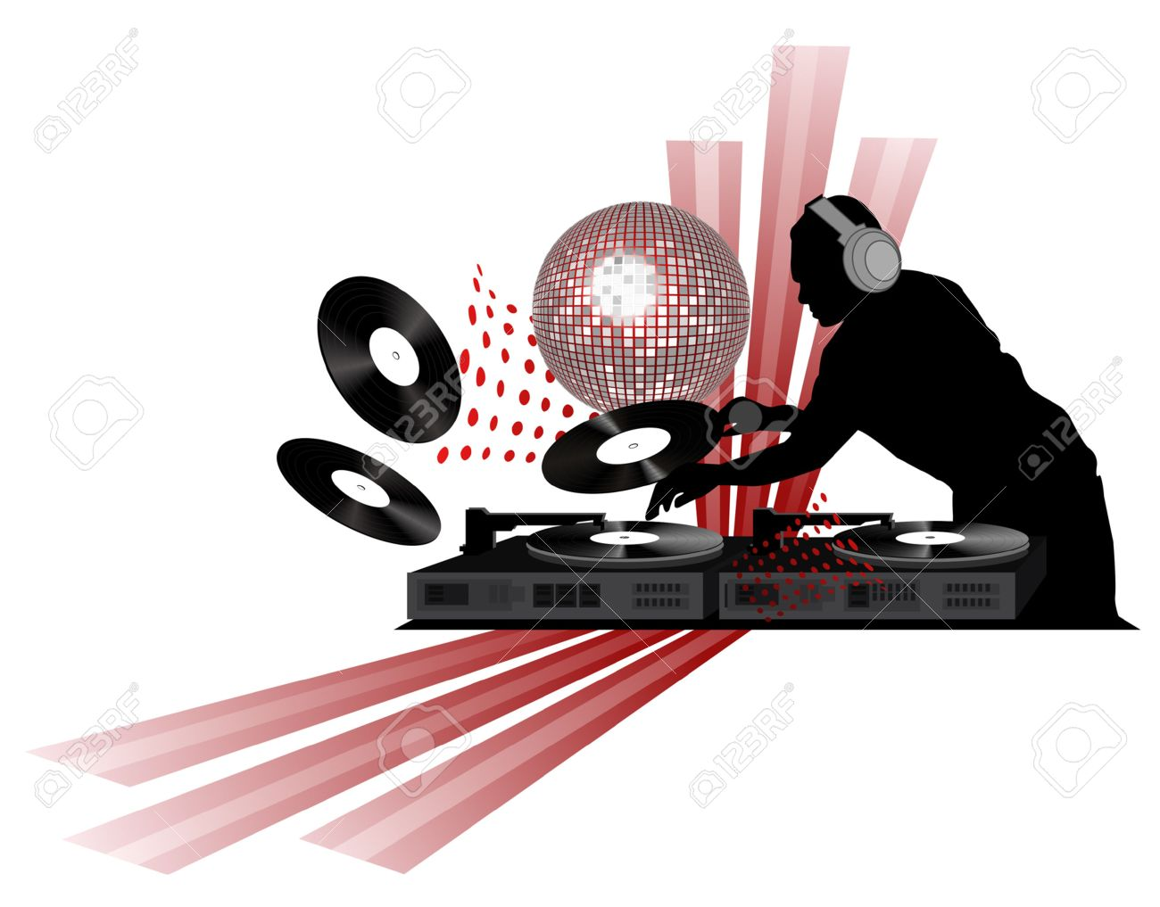 Clipart with dj, turntable and shining disco ball.