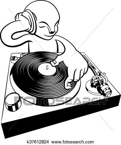 DJ on turntable decks Clipart.