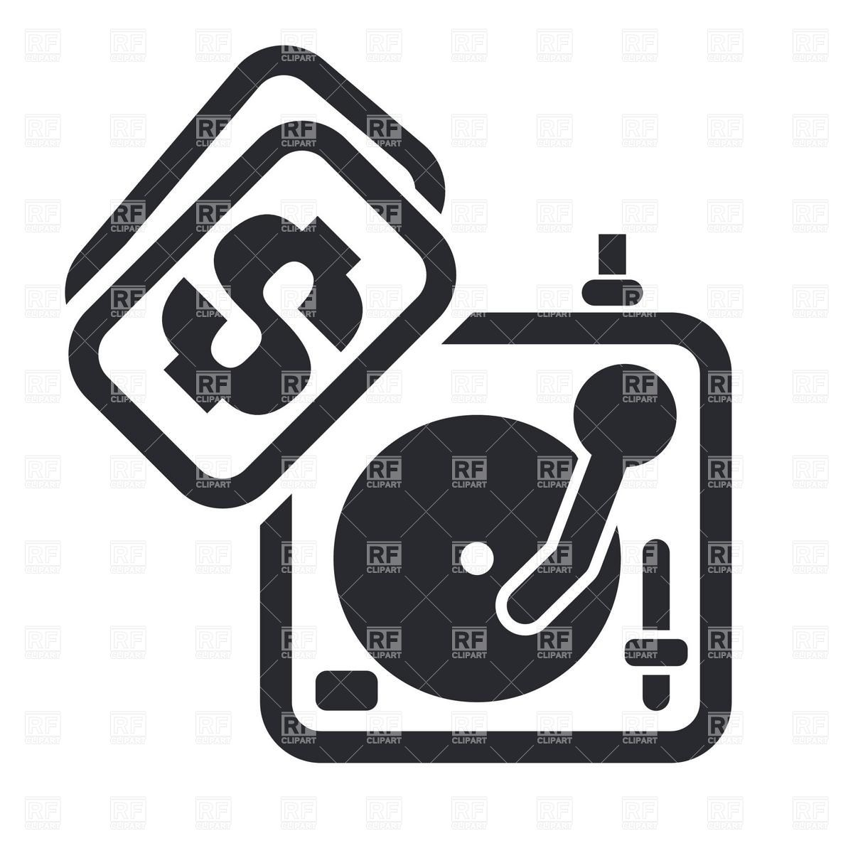 DJ turntable with price tag simple icon Stock Vector Image.
