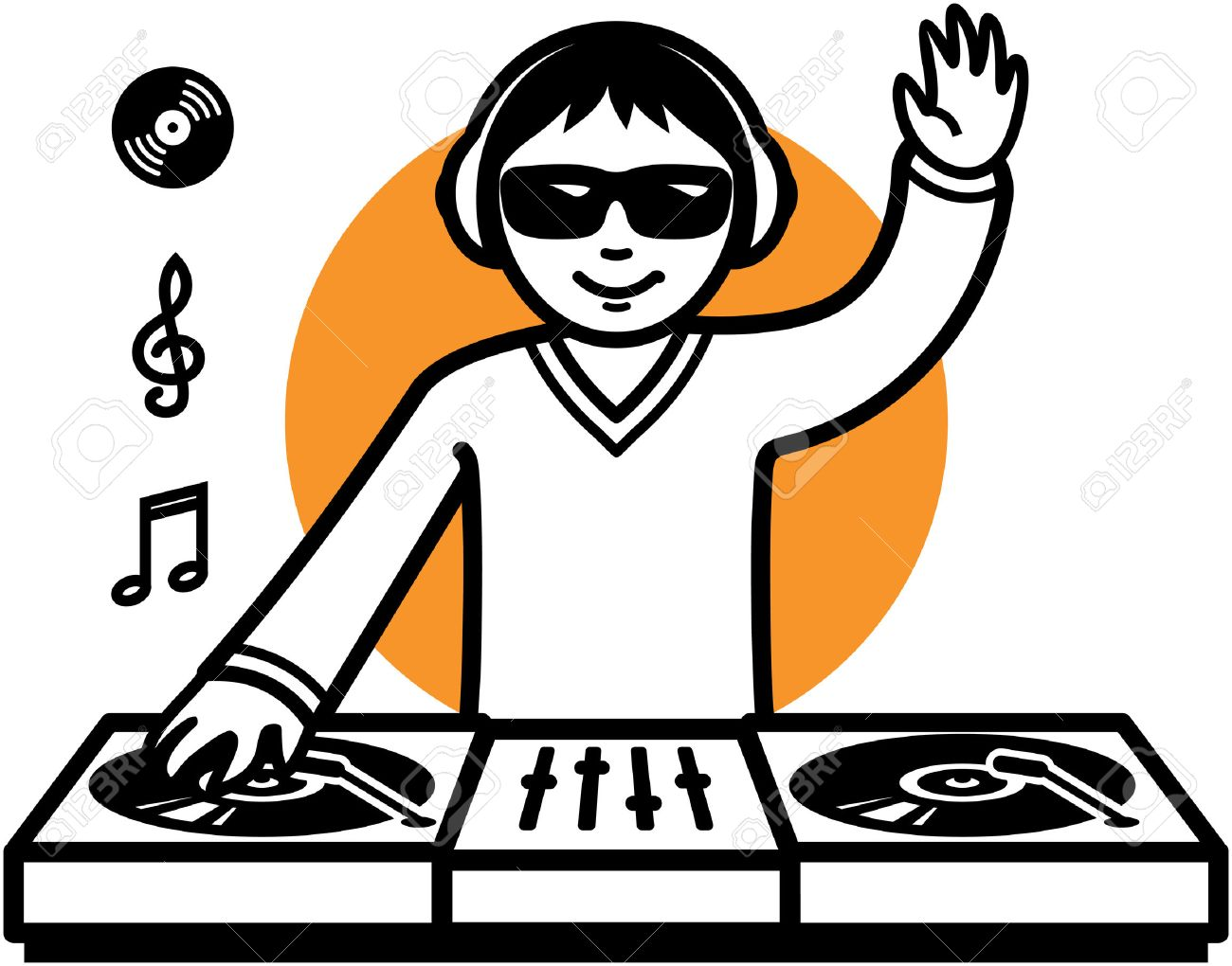 Party DJ at turntable illustration.