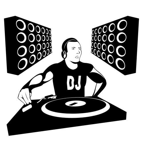 Free Vectors: Silhouette DJ Boy with Speakers.