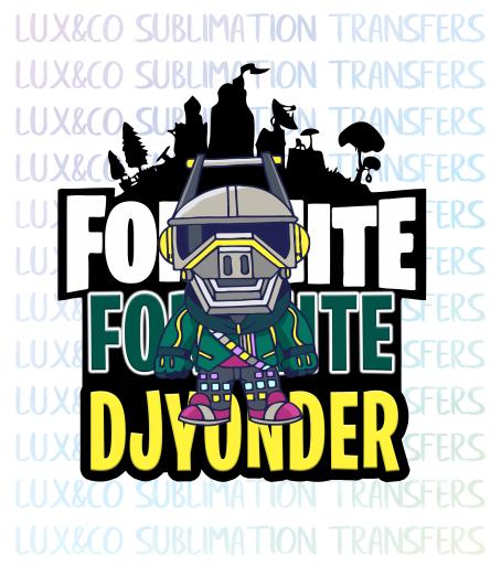 Fortnite DJ Yonder Sublimation Transfer.