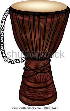 Clip Art Illustration Of A Djembe African Drum..