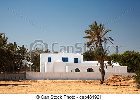 Stock Photography of White house in arabic style on Djerba.