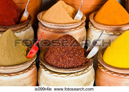 Stock Photography of Spice market, Houmt Souk, Djerba, Tunisia.