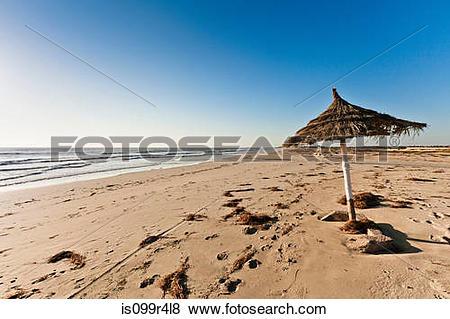 Pictures of Parasol on beach on island of Djerba, Tunisia.