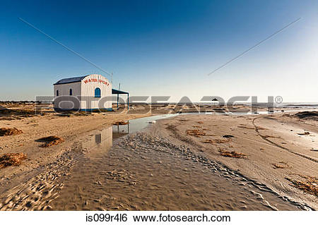 Stock Images of Water sports hut on beach on island of Djerba.