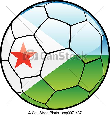 Vectors Illustration of Djibouti flag on soccer ball.
