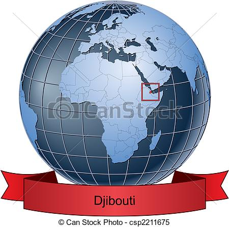 Clipart Vector of Djibouti, position on the globe Vector version.