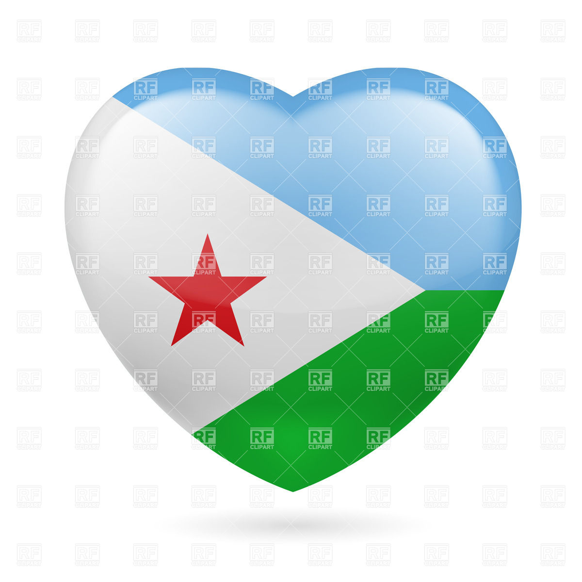 Heart with Djiboutian flag colors. I love Djibouti Vector Image.