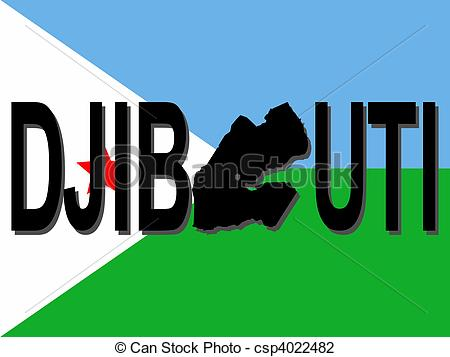 Clip Art of Djibouti text with map on flag illustration csp4022482.
