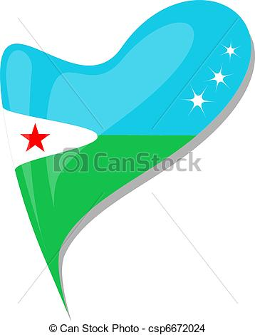 EPS Vector of djibouti in heart. Icon of djibouti national flag.