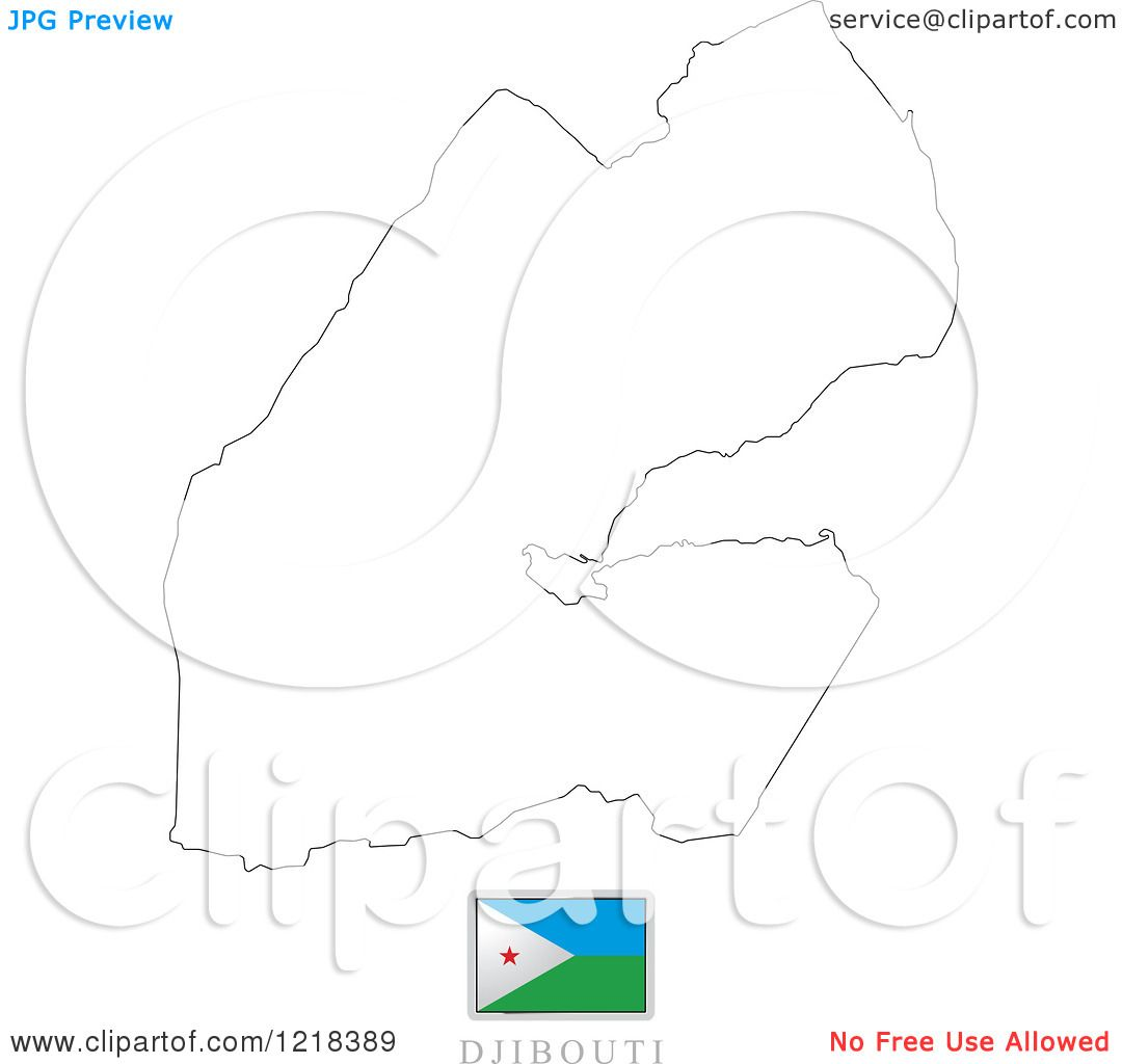 Clipart of a Djibouti Flag And Map Outline.