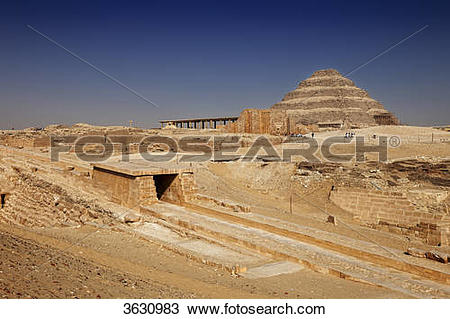 Stock Photo of Ramp of Wenis at the step pyramid of Djoser.