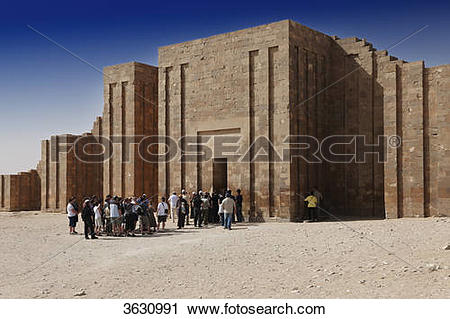 Stock Photography of Entrance to the step pyramid of Djoser.