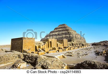 Stock Photographs of Pyramid of Djoser in the Saqqara necropolis.