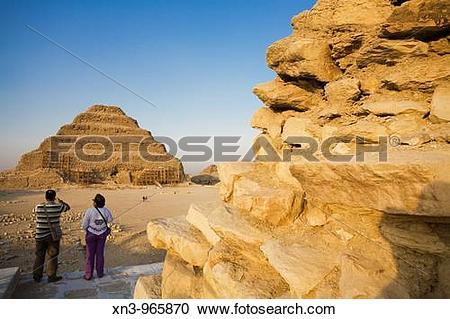 Stock Photography of Step Pyramid of Djoser at Saqqara Necropolis.