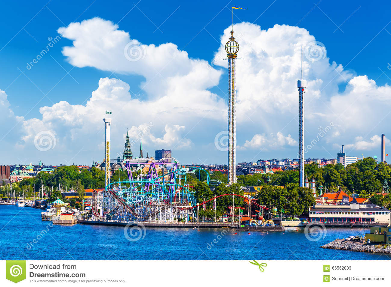 Amusement Park Grona Lund On Djurgarden Island In Stockholm, Swe.
