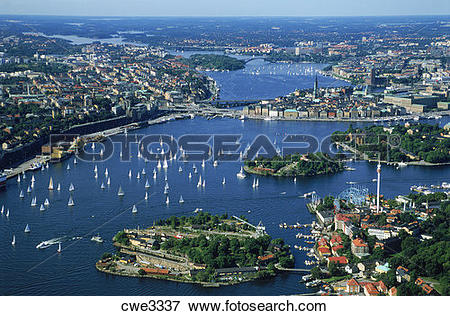 Picture of Aerial view of Stockholm above Djurgarden with.