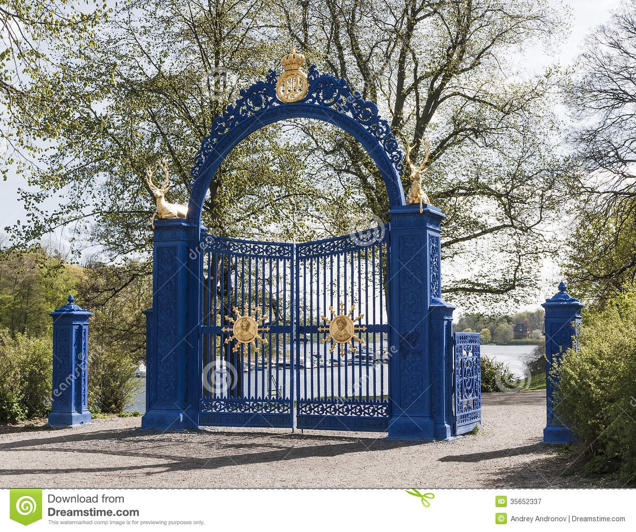Blue Gate On The Island Of Djurgarden Royalty Free Stock.
